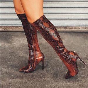 Over the knee chocolate snake heels